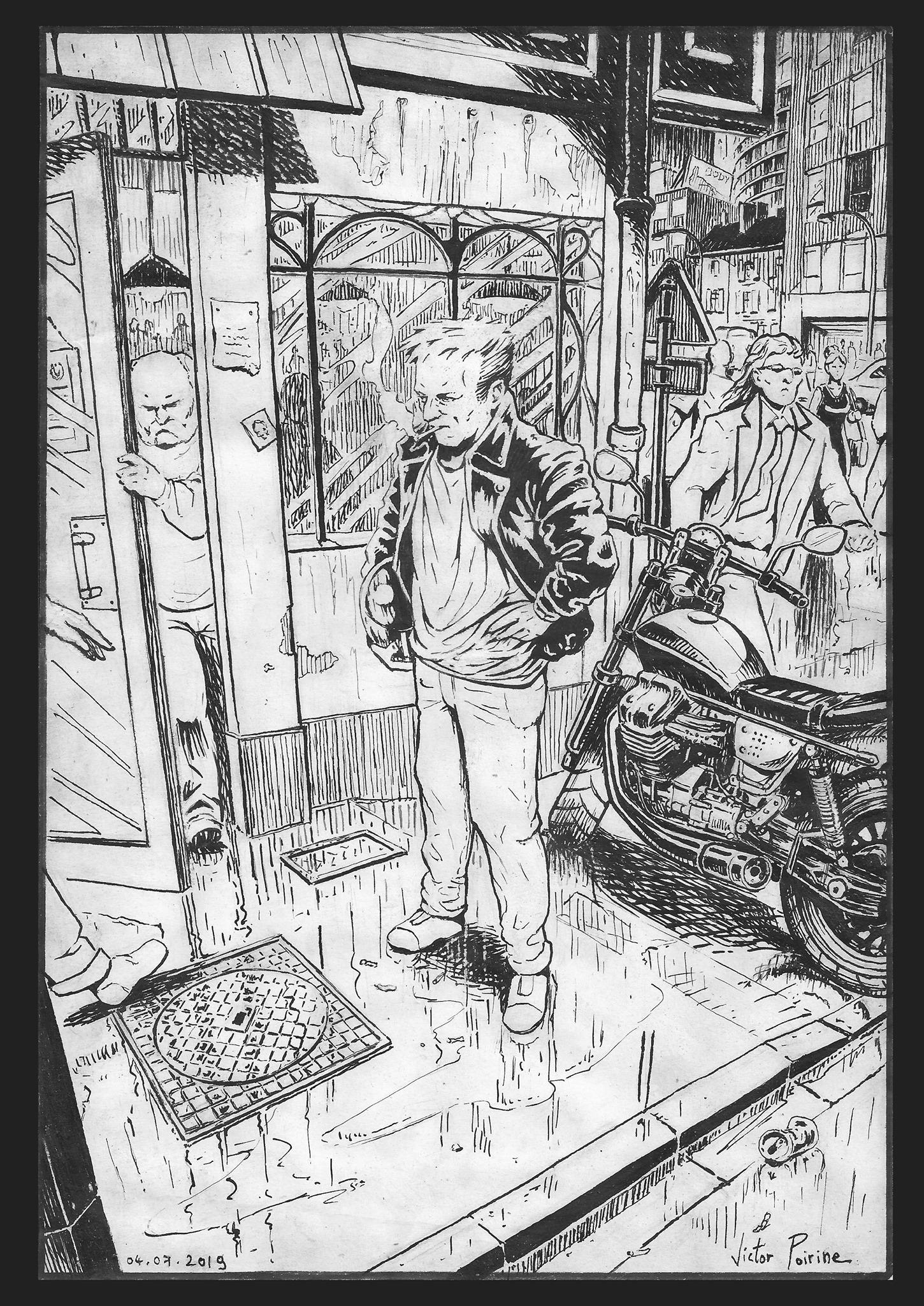 900euros -  Illustration à l\\\'encre de Chine que j\\\'ai développée mais qui à la base était juste une expérimentation sur mes techniques d\\\'encrage inspirées de la BD.