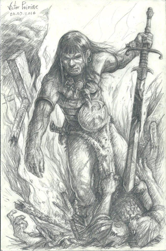 400 euros - Barbare (basé sur Conan) réalisé pour jouer à Donjon Dragon. A4