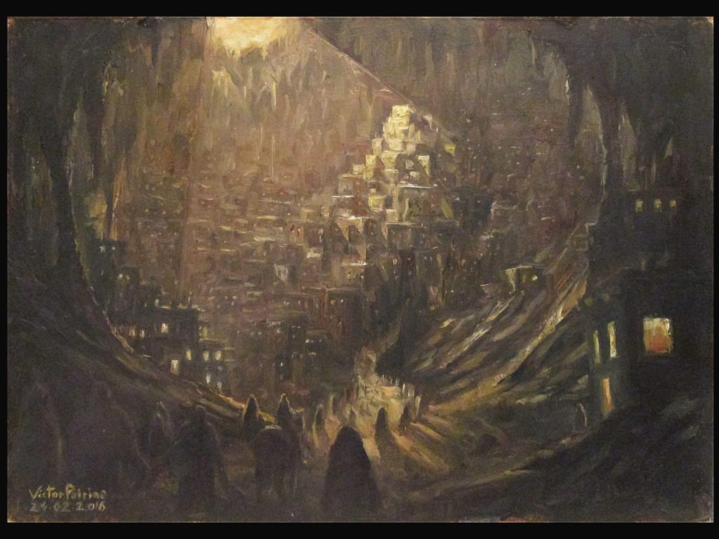 cité de la caverne, huile sur panneau 34,5x24,5cm