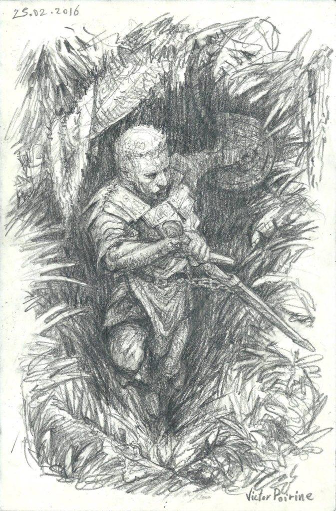 Le paladin sort de la forêt prêt à l'affrontement