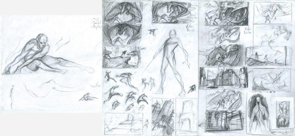Pour ceux que ça intéresse des esquisses pour les recherches de compositions.