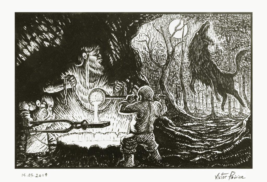 Thor va chez les nains pour que ceux-ci fondent une chaîne permettant de retenir Fenrir, le loup devant précipiter la fin du monde. Illustration pour le récit des Eddas aux Imaginales d'Épinal 2019. Plume et encre sur papier canson A4