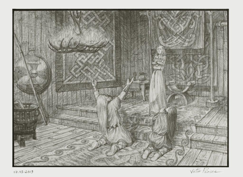 Thor et Loki supplient Freya pour que cette dernière se marie avec un géant ayant volé le marteau du dieu du tonnerre afin de récupérer cette arme redoutable. Cette dernière ne semblant pas apprécier l'idée, ils devront se débrouiller. Illustration pour le récit des Eddas. aux Imaginales d'Épinal 2019. Crayon graphite sur papier canson.