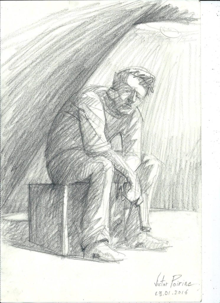 dessin de recherche sur la lumière pour une peinture
