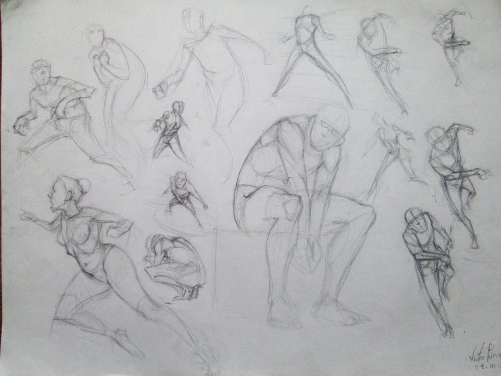 quelques recherches de ligne de mouvement, de poses
