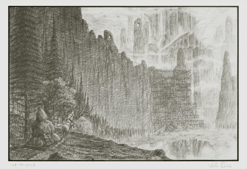 La construction d'Asgard par un mystérieux maçon dont le cheval pouvait tirer des bloques de pierres gigantesques. Illustration pour le récit des Eddas aux Imaginales d'Épinal 2019. Crayon graphite sur papier canson A3