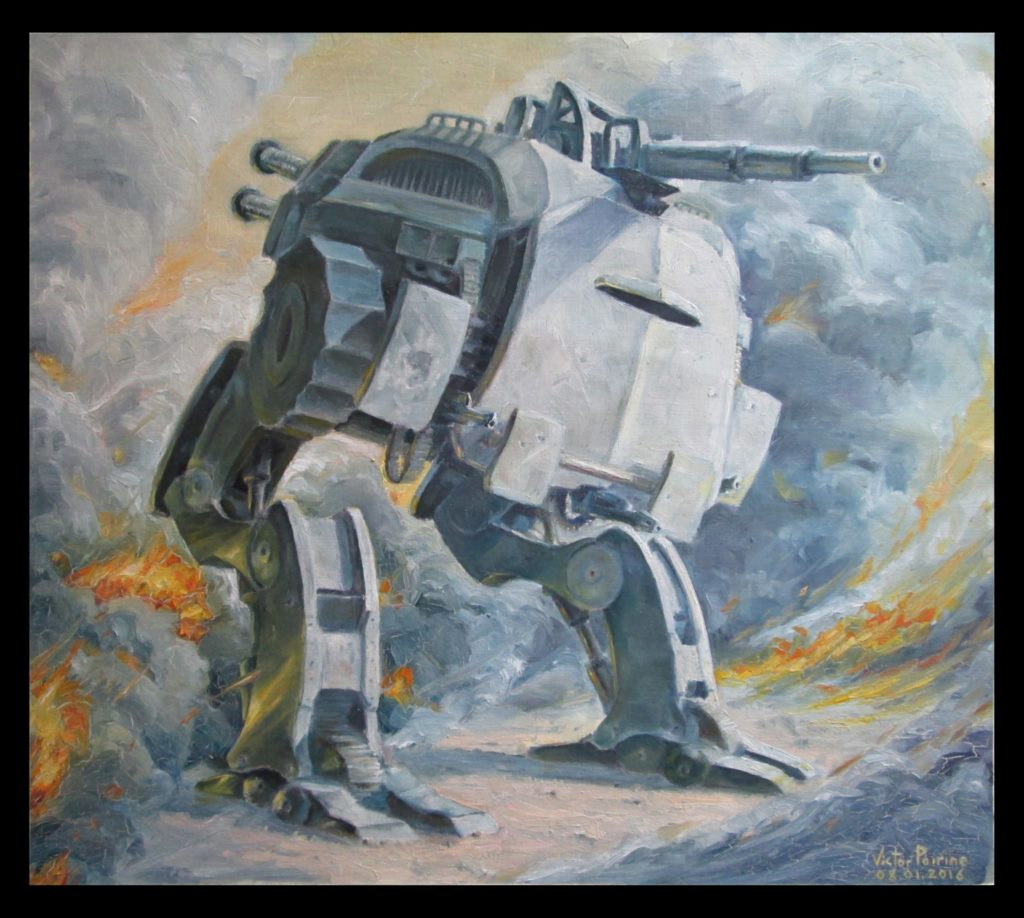 Robot de combat, huile sur papier toile 32,5x37cm