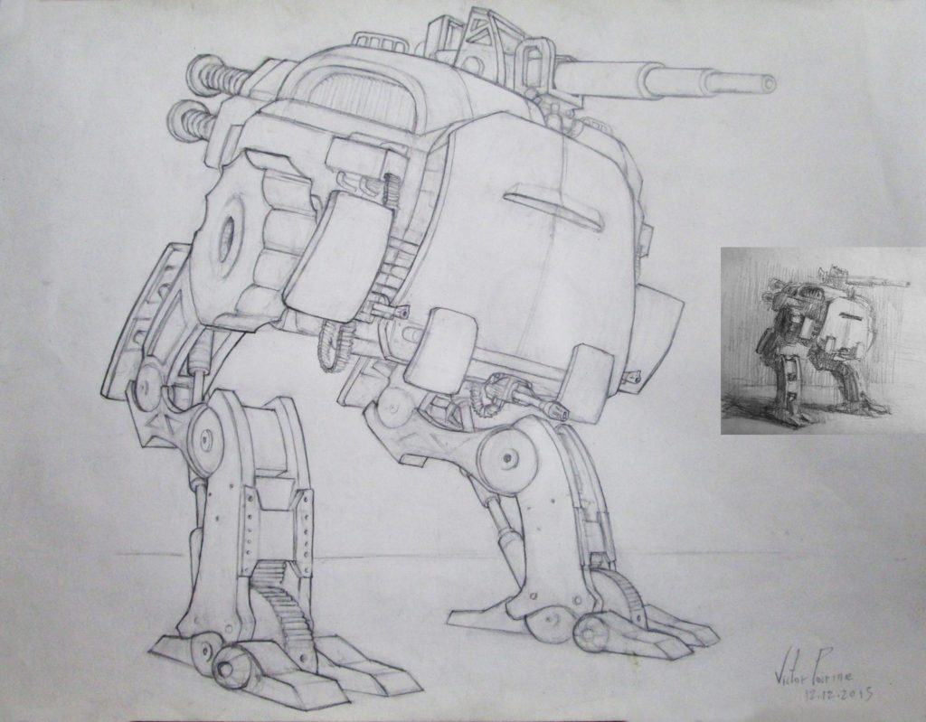 250euros - robot de combat dessin et esquisse