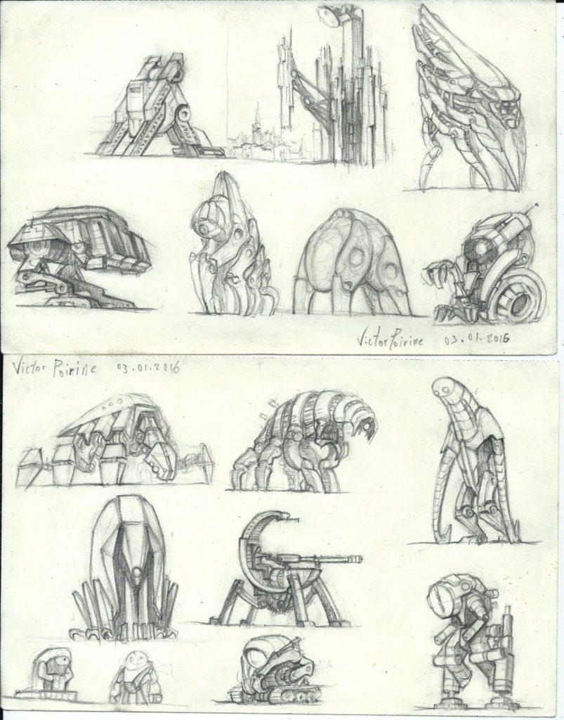 recherches de design de robots sur mes pages de carnet