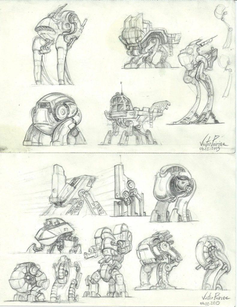 100 euros la feuille - recherches de design de robots sur mes pages de carnet. inférieurs à du A4