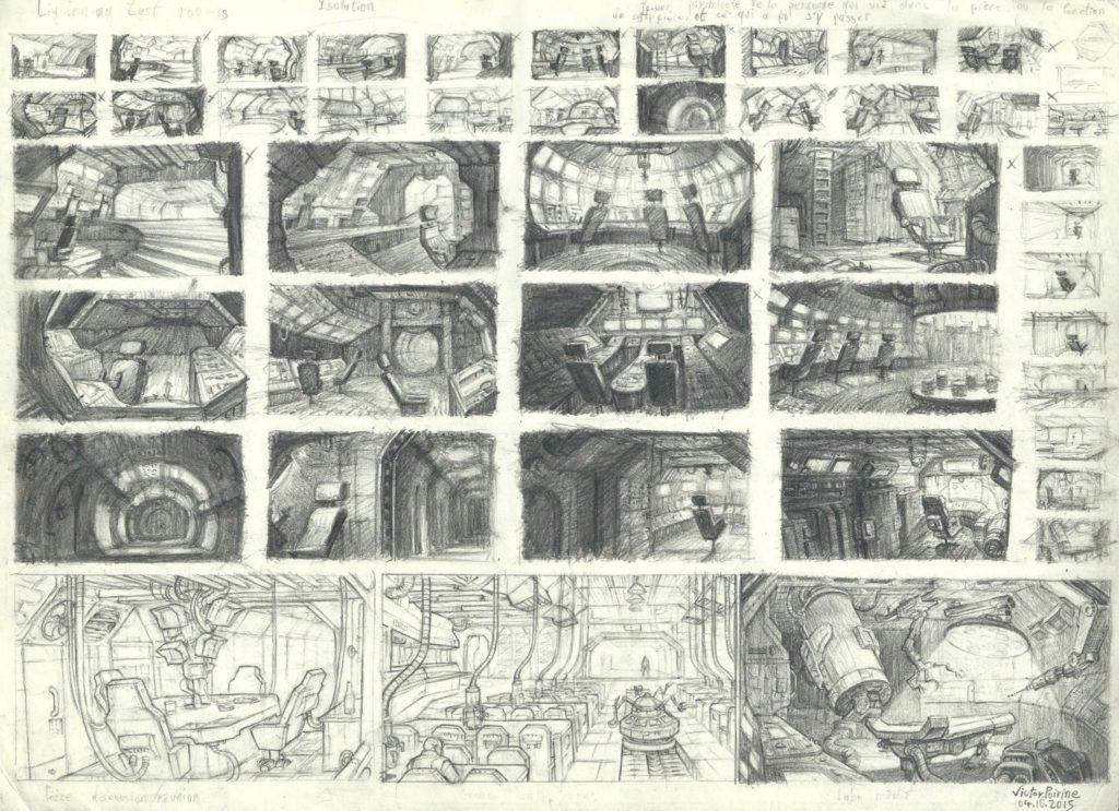 800 euros - recherches de design d\\\'intérieur de vaisseau spatial. A3
