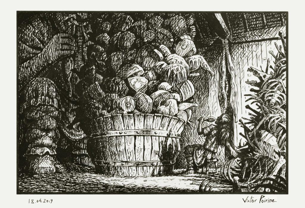 Loki participant à un concours de nourriture avec un géant. Illustration pour le récit des Eddas aux Imaginales d'Épinal 2019. Plume et encre sur papier canson A4