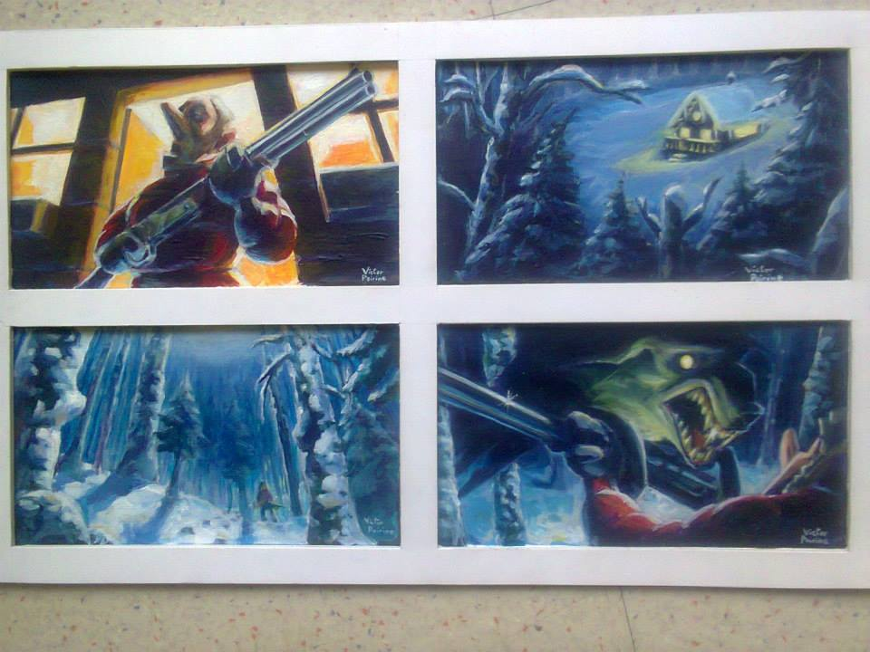 planche de recherche de couleur et composition à l'acrylique