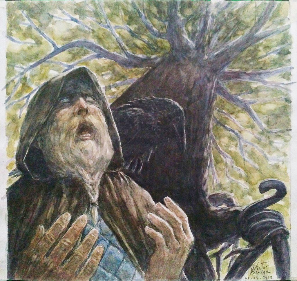 Odin raconte l'arbre monde. Illustration pour le récit des Eddas aux Imaginales d'Épinal 2019. Crayon et Aquarelle sur papier canson