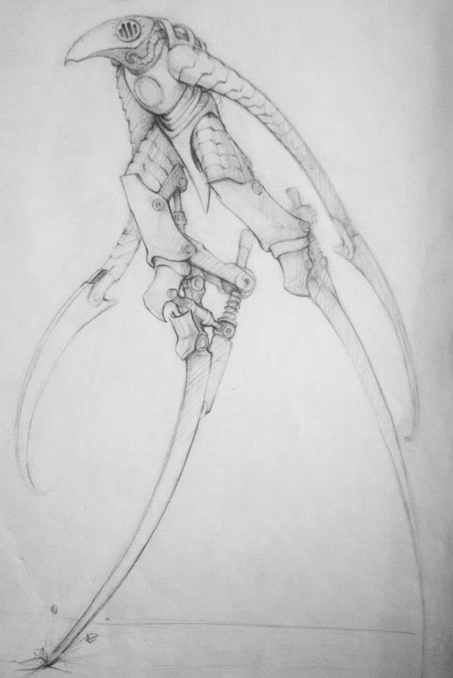 400euros- concept d\'un personnage Science Fiction, inspiré d\'un faucheur, un echassier ou un corbeau perché