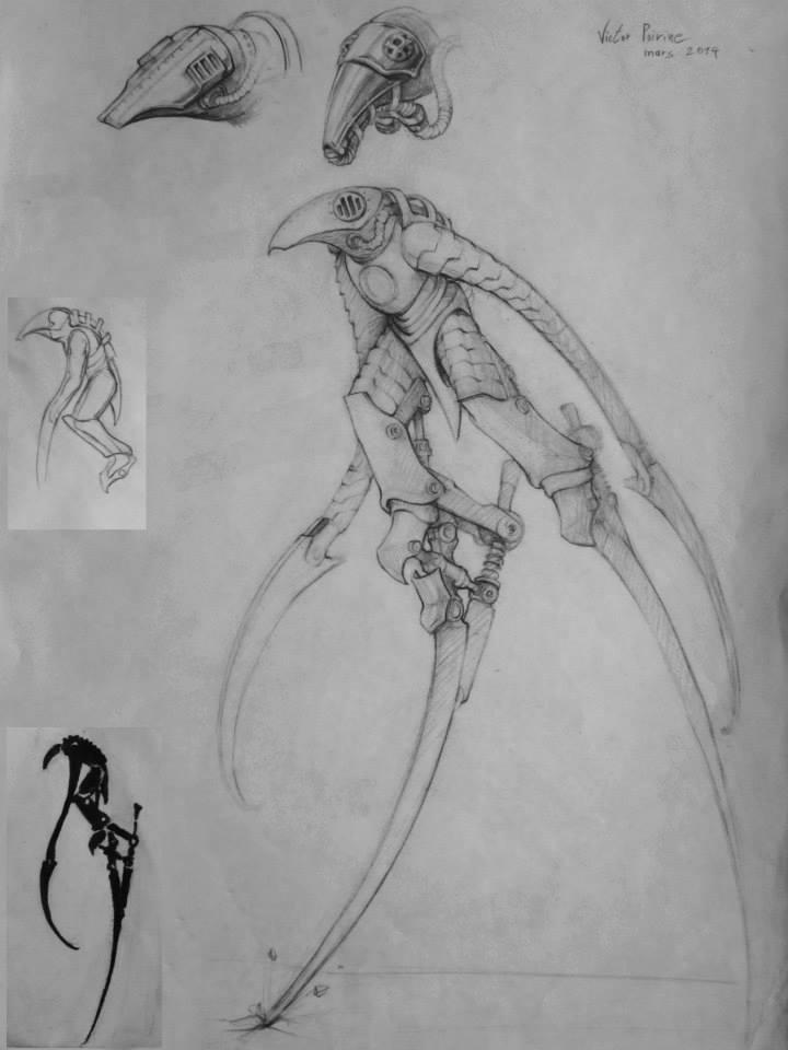 concept d'un personnage Science Fiction, inspiré d'un faucheur, un echassier ou un corbeau perché