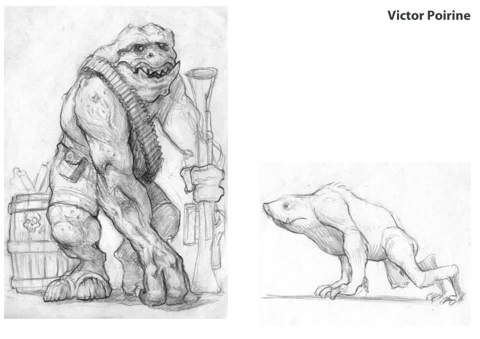 """character design d'une créature chasseur et de son """"chien"""""""