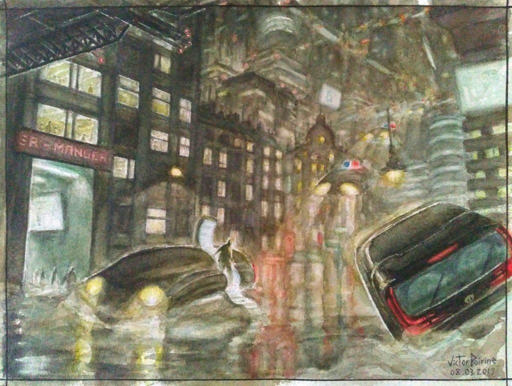 500 euros - ville science fiction à l\'aquarelle, format 21x29,7
