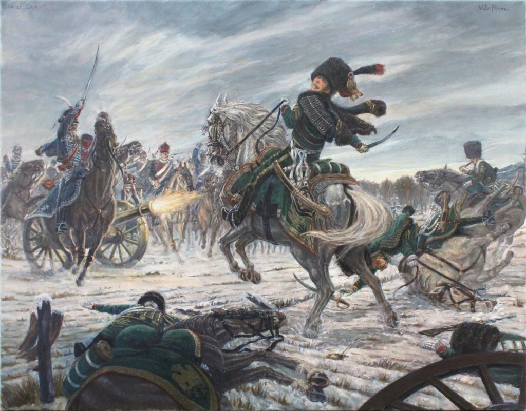 La Bérézina, 1812, bataille napoléonienne. Huile sur toile. 74,5x58cm
