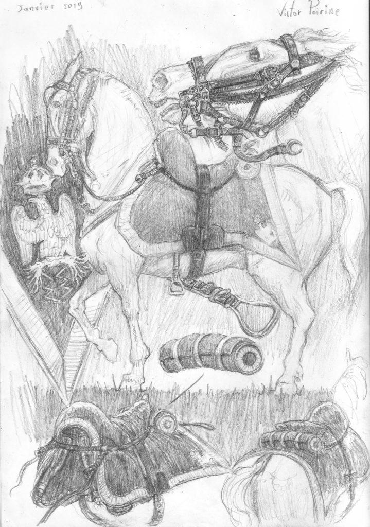 dessin de la selle, de l'écusson et des harnachements d'un cheval de hussard sur un carnet dédié à la recherche sur les personnages