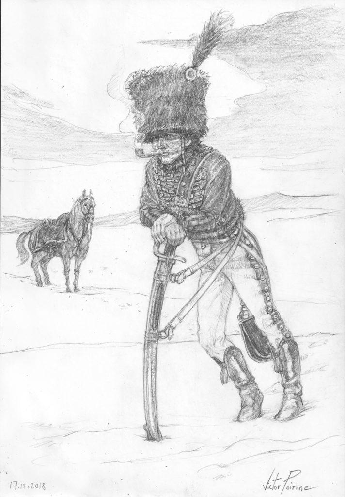 dessin d'un hussard sur un carnet dédié à la recherche sur les personnages