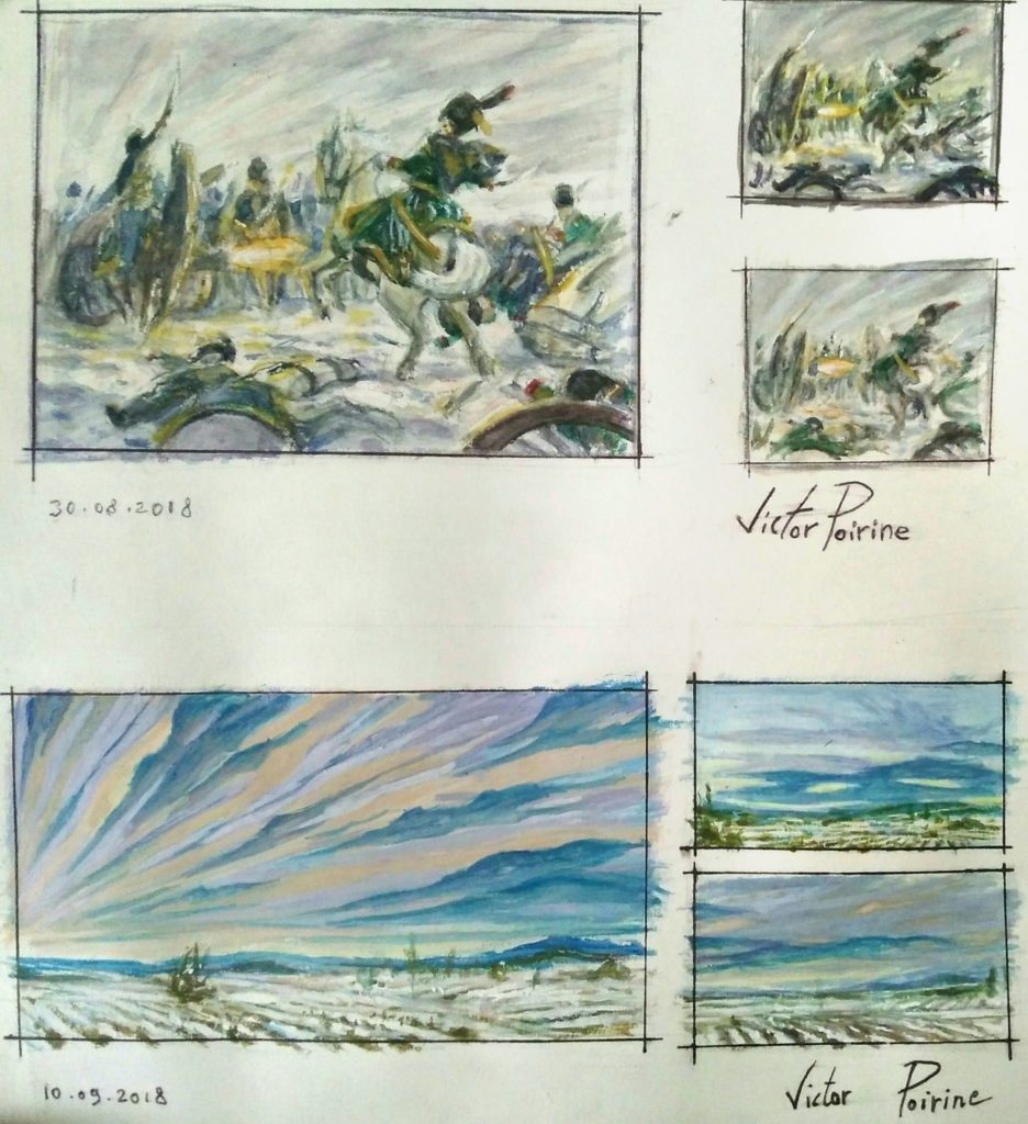 recherches aquarelle et gouache pour les couleurs de la peinture de la Bérézina