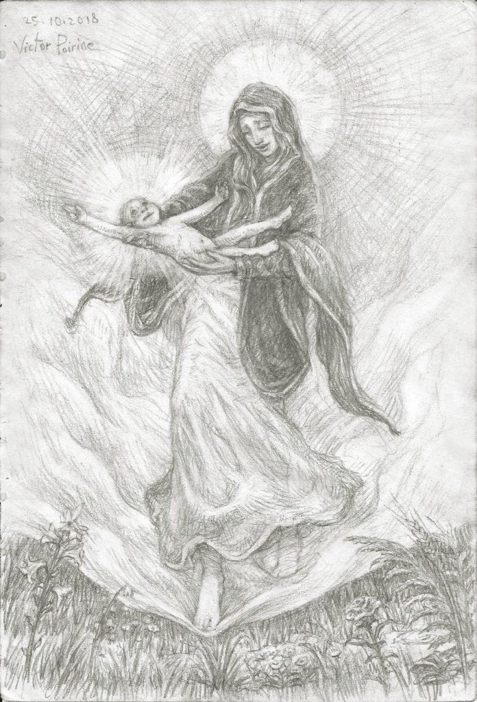Vierge à l'enfant descendant sur terre depuis le ciel pour nous présenter Jésus. Inspirée par notre Dame des Champs