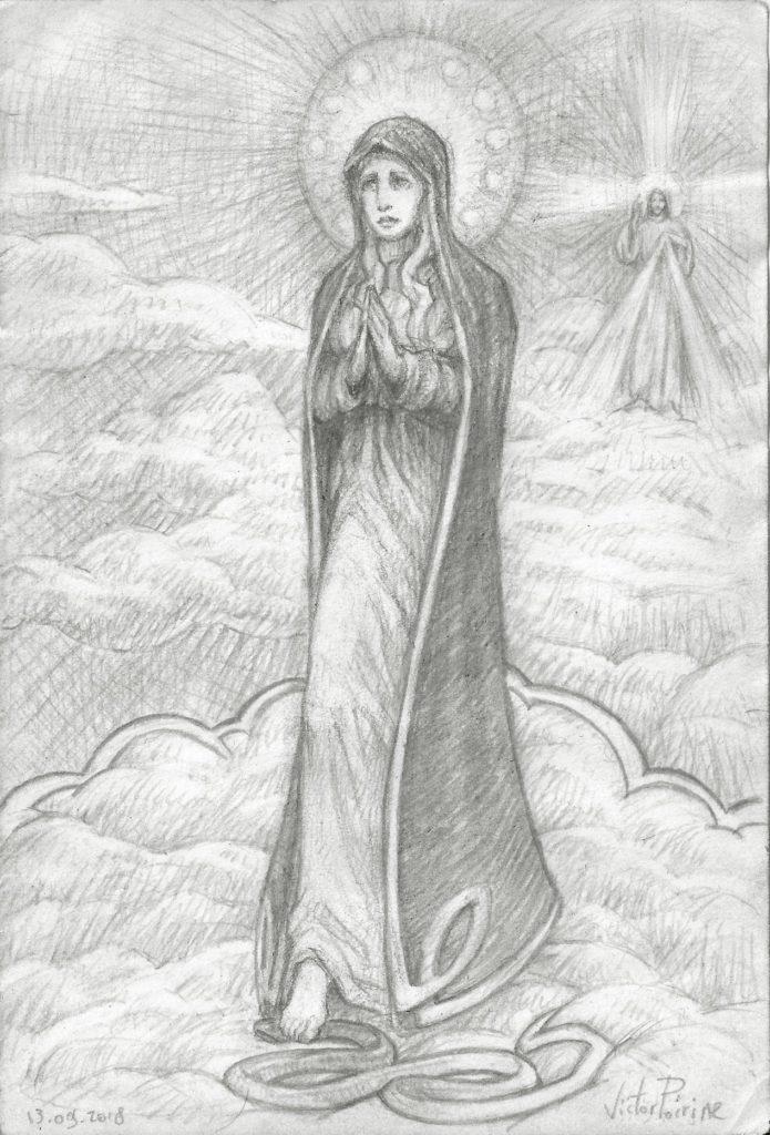 Dessin de la Vierge Marie écrasant la tête du serpent et se plaçant comme une porte vers son fils, Jésus miséricordieux représenté au fond