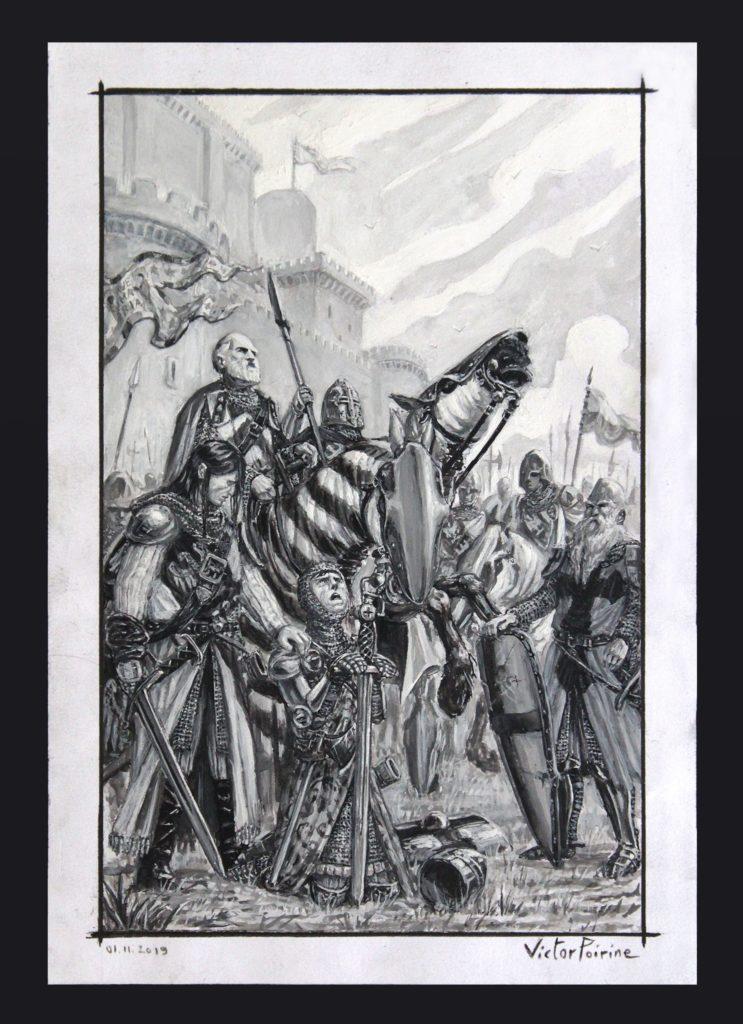 Des chevaliers se préparant au départ. Encre de Chine et gouache sur canson A4.