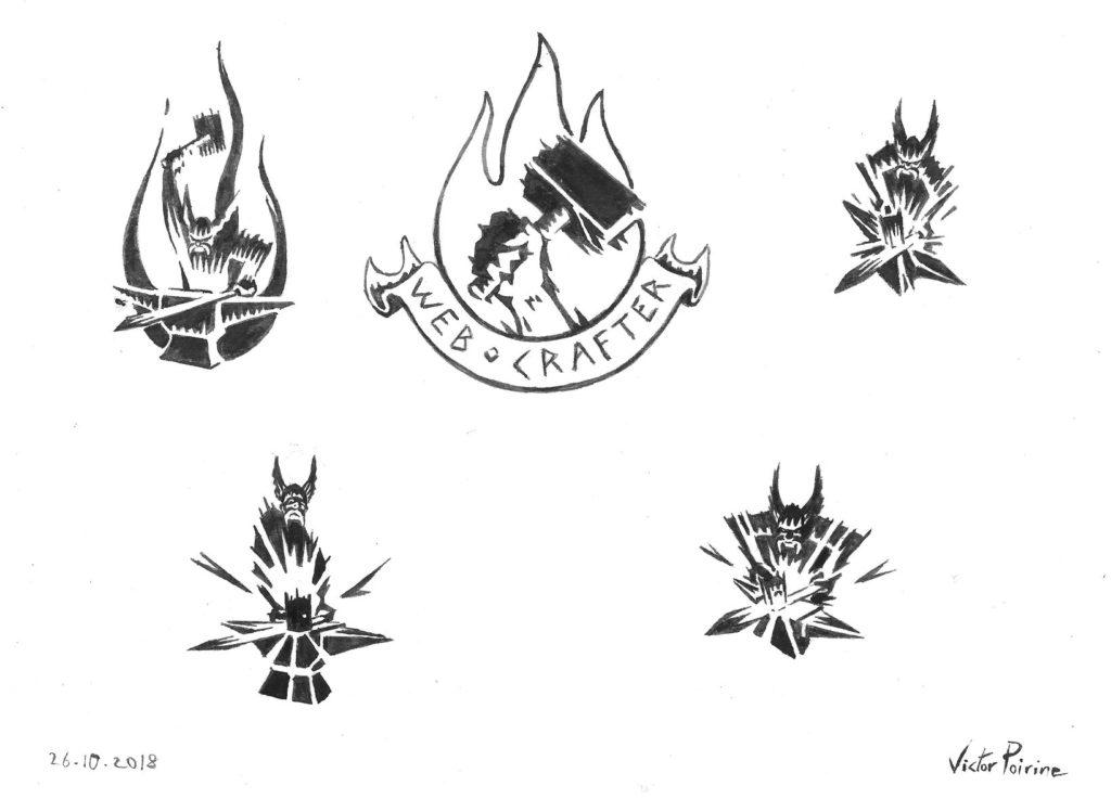 100 euros - petites recherches de logos pour le site  Webcrafter. Sur format A4