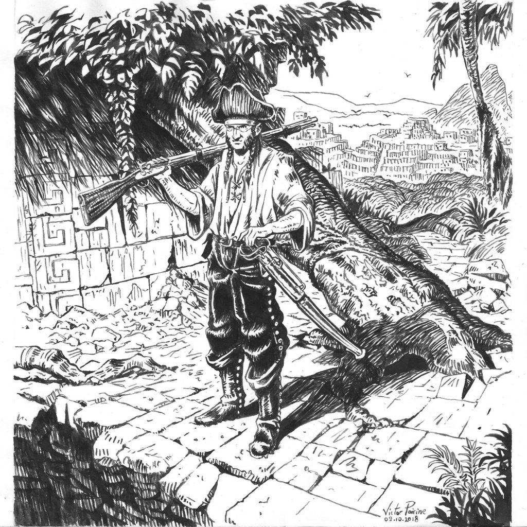 900euros - un aventurier pirate dans les ruines incas, encre (inspiré d\\\'une couverture de Black Crow). Inférieur au A3