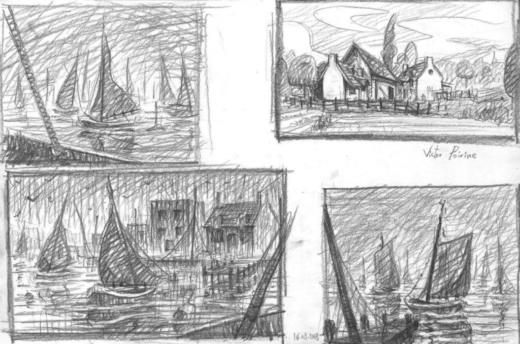 90euros - Recherches personnelles à la mine de plomb. Des bateaux et une ferme. A3