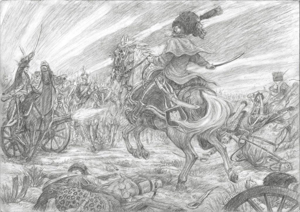 Dessin d'une bataille Napoléonienne, sur le front de Russie de 1812.