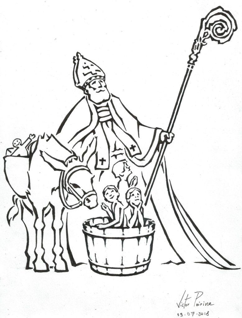 """illustration d'un Saint-Nicolas pour l'association: """"Connaissance et Renaissance de la Basilique de Saint-Nicolas-de-Port"""", boutique 1 rue des Trois Pucelles, Saint-Nicolas-de-Port Final.Encre"""