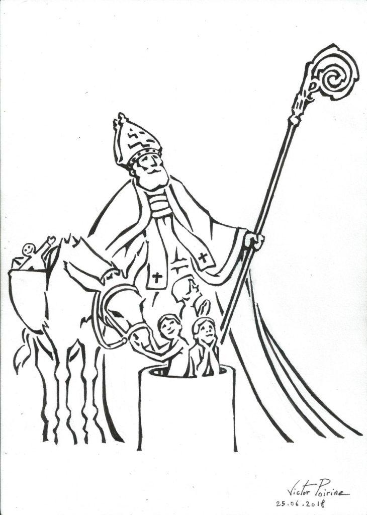 """illustration d'un Saint-Nicolas pour l'association: """"Connaissance et Renaissance de la Basilique de Saint-Nicolas-de-Port"""", boutique 1 rue des Trois Pucelles, Saint-Nicolas-de-PortEssaie.Encre"""