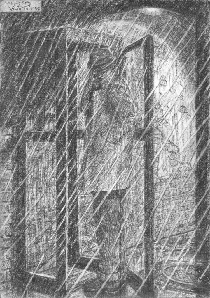 Un homme au téléphone, sous la pluie, ne se mettant pas tout à fait à l'abris dans la cabine... Pas à l'aise, près à partir... Une inspiration type film noir