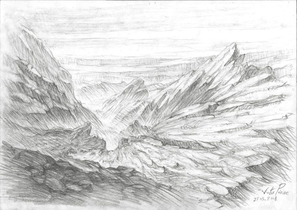 300euros - Recherche pour des formations rocheuses autour d\\\'un gouffre ou une falaise. A4