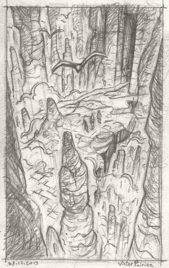 pont de roche vers une porte de pierre. Couverture pour mon carnet de recherche
