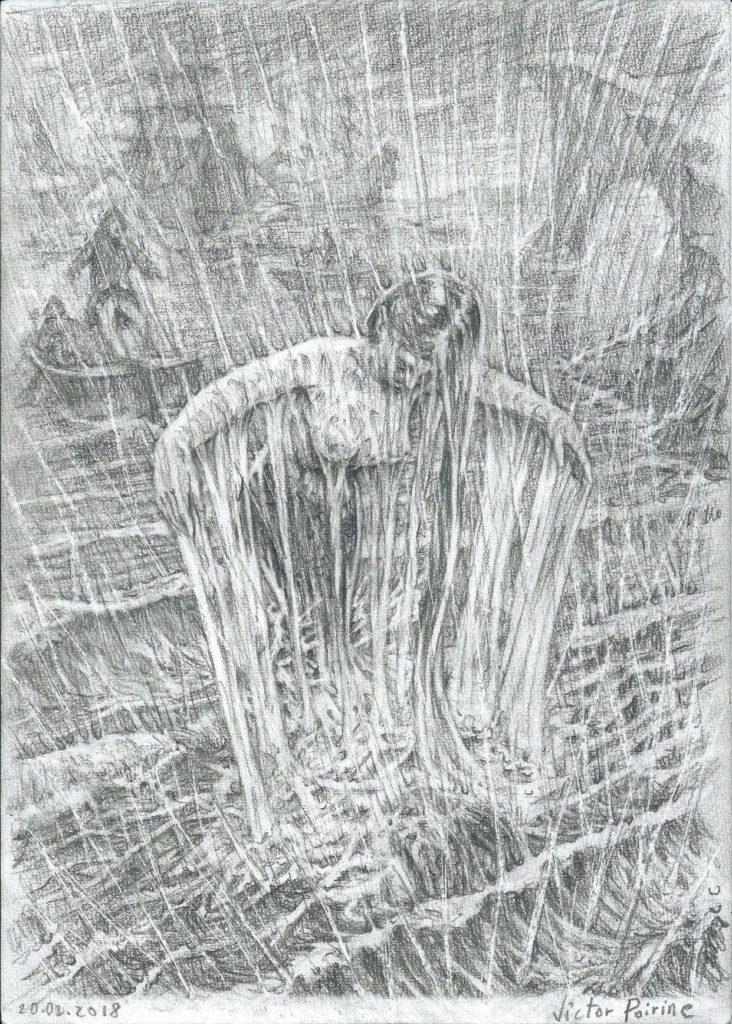 Sirène sortant de la mer. crayon sur papier à grain