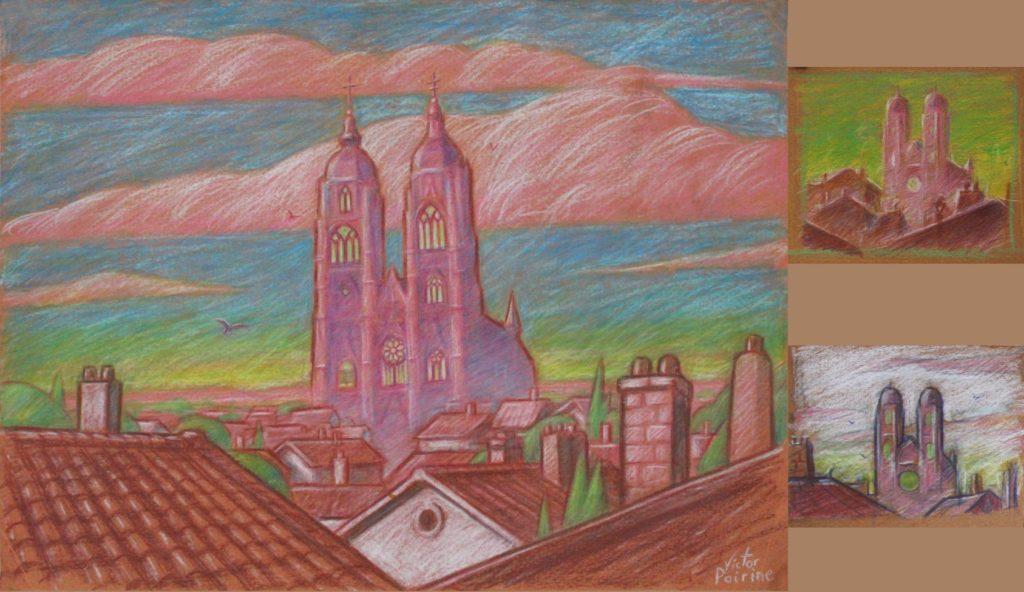 150euros - Illustration proposée pour une pâtisserie de Saint-Nicolas-de-Port autour de leur gamme de couleur. Crayon de couleur. A4