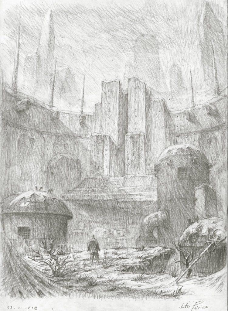 Temple ancien dans les hauteurs.Crayon sur papier
