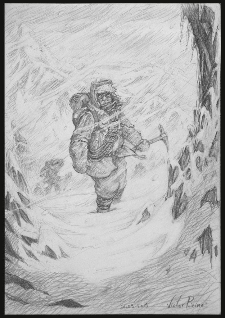 Dessin d'un alpiniste aventurier dans le vent glacé