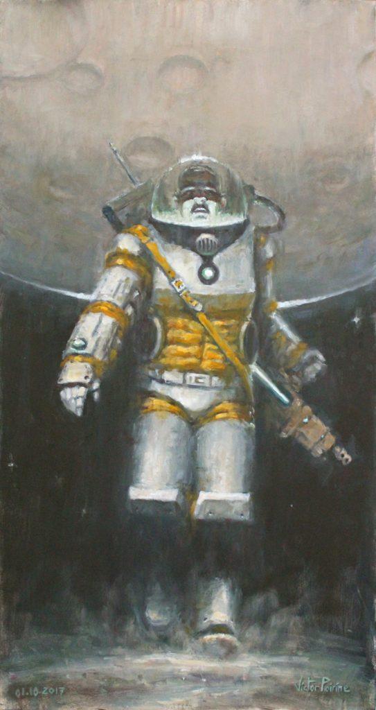 Un homme confiné dans l'espace. Huile sur panneau de 37,8x71,8 cm.