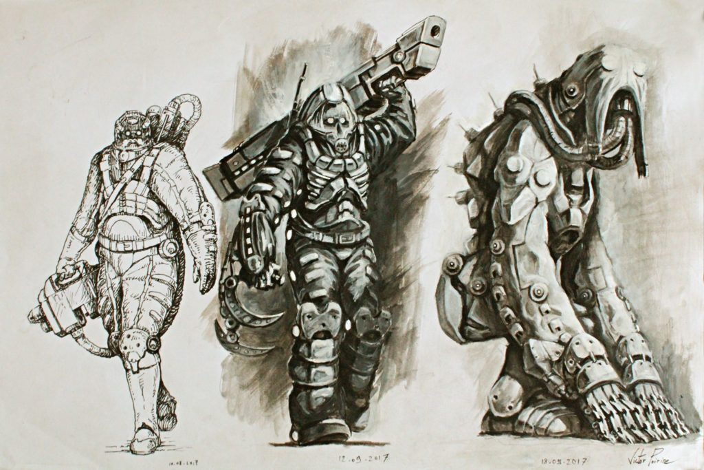 400euros - recherches pour faire évoluer un design de scaphandre déshumanisant. Travail de différentes techniques et méthode pour trouver un personnage à intégrer dans une future peinture à l\\\'huile.Techniques : stylo plume/ stylo plume et gouache / crayon et gouache / sur A3