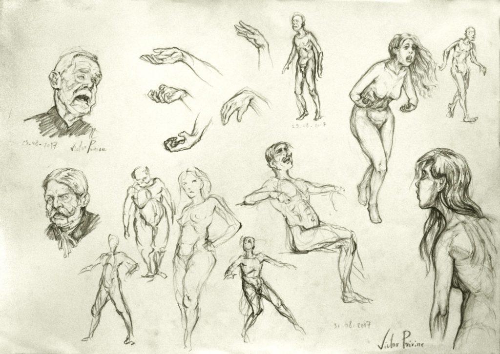 150euros - recherches sur une planche autour d\'expressions corporelles, faciaux... des exercices de morpho. A3