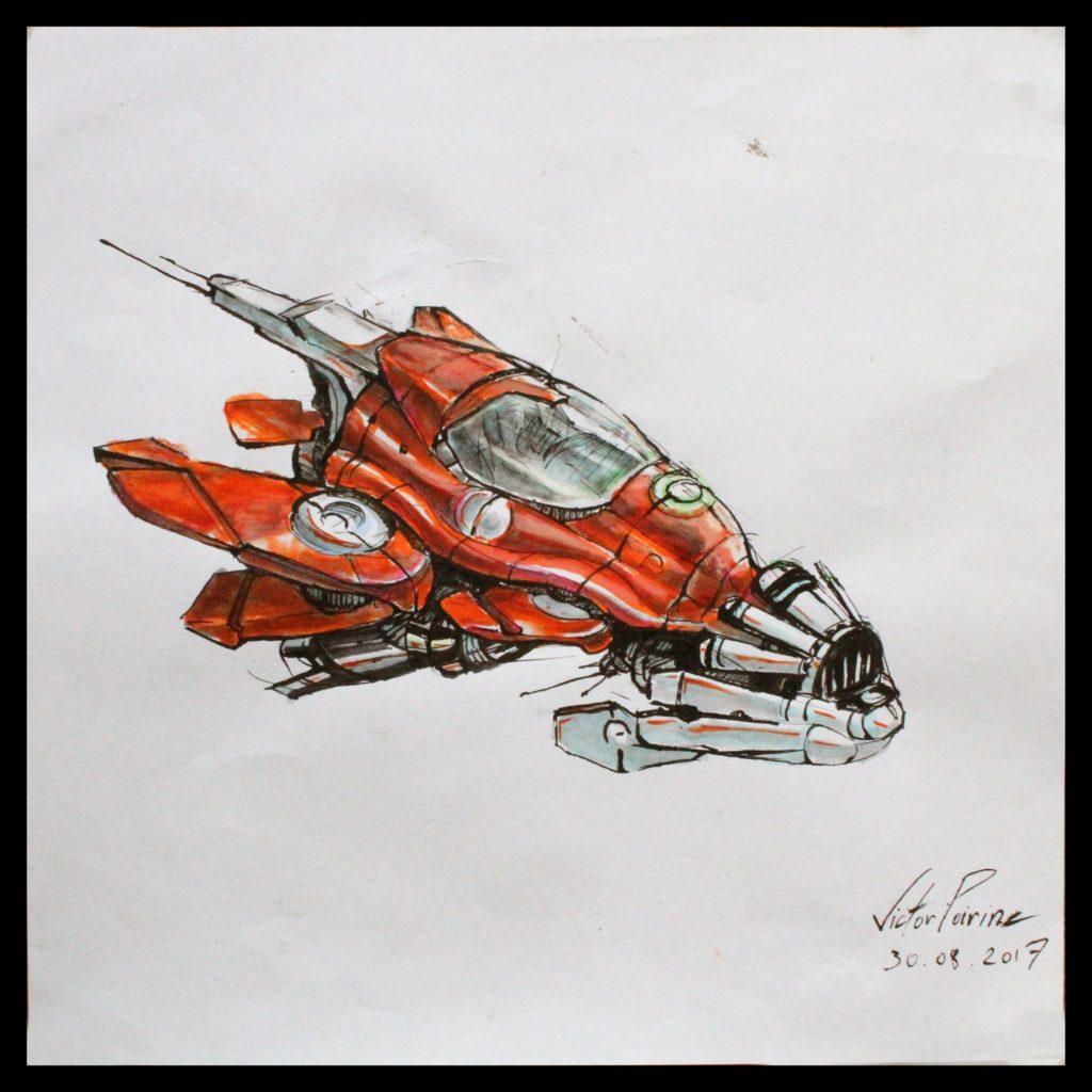 130 euros - petit dessin d\\\'un vaisseau réalisé directe au stylo et au feutre sur moins d\'un demi A4