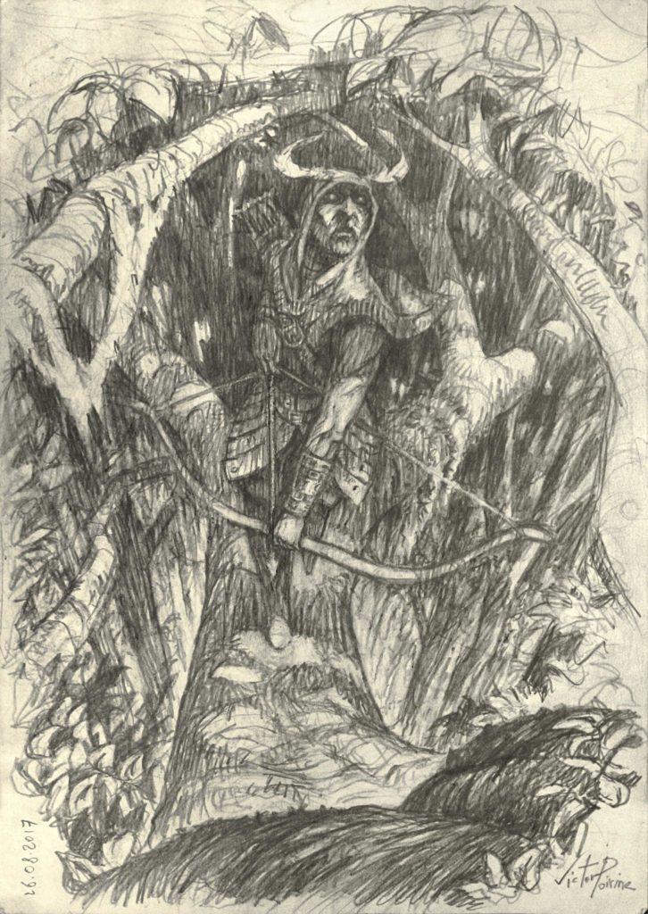 Dessin d'un archer dans la forêt. Crayon sur papier imprimante A4
