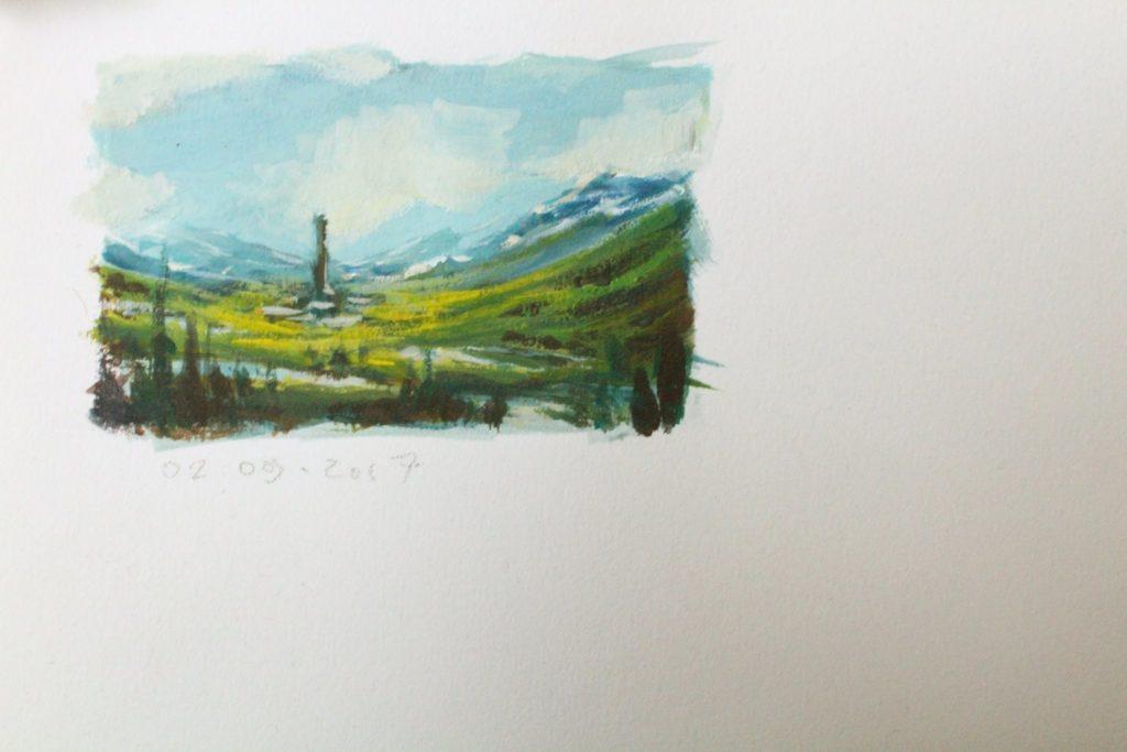 petite esquisse d'un paysage imaginaire à la gouache