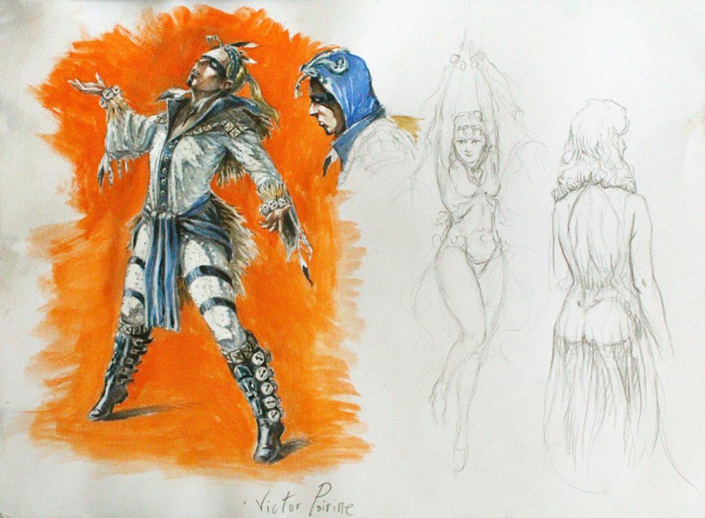 450 euros - proposition de costumes de scène pour une commande. crayon, aquarelle et gouache. A3