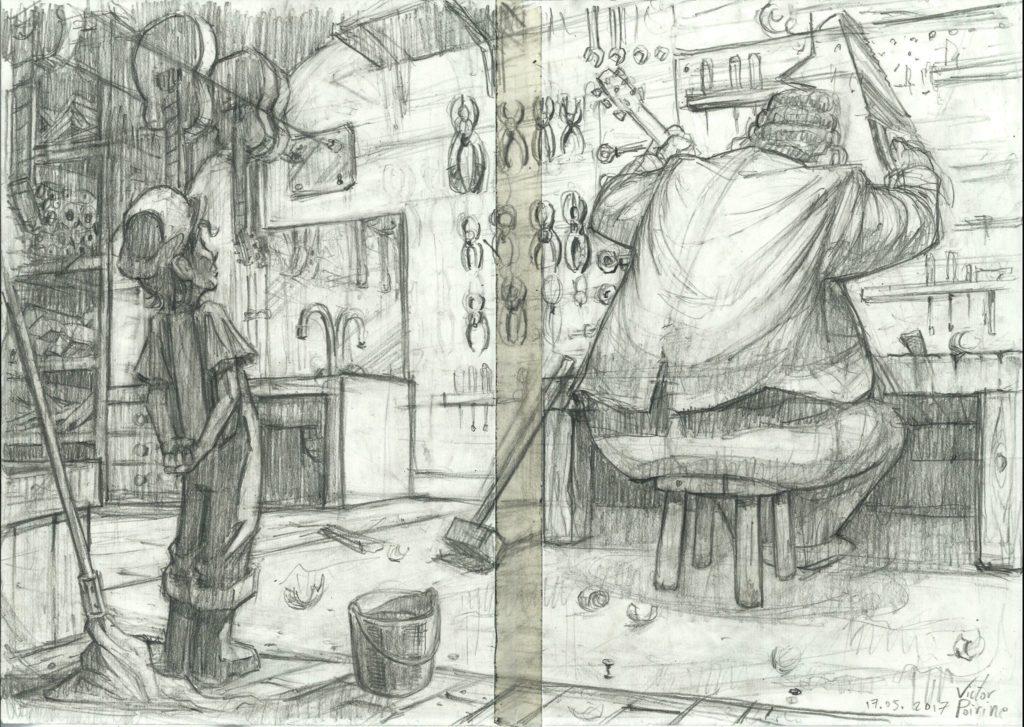 300 euros - planche au crayon pour un livre pour enfant en projet. A3